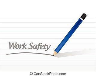 messaggio, lavoro, sicurezza, illustrazione, segno