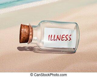 messaggio, malattia, bottiglia