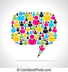 messaggio, persone, bolla, colorito, squadra