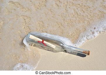 messaggio, spiaggia, bottiglia