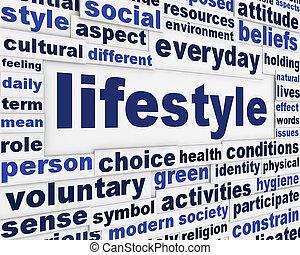 messaggio, stile di vita, fondo, creativo
