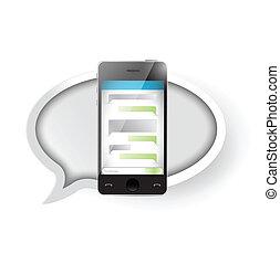 messaggio testo, smartphone., comunicazione