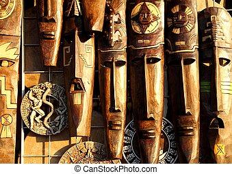 messicano, maschera legno, legno, facce, handcrafted