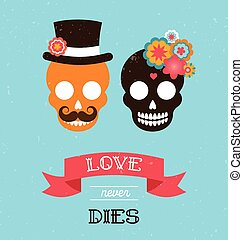 messicano, matrimonio, due, hipster, invito, crani