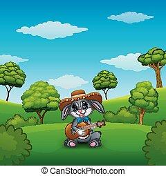 messicano, rilassare, parco, chitarra, coniglio, canto, gioco