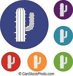 messicano, set, cactus, icone