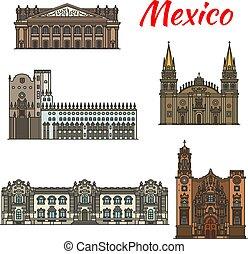 messicano, viaggiare, disegno, punto di riferimento, turismo, icona