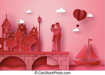 mestiere, carta, stesso, bridge., abbracciare, arte, fatto, coppia, villaggio, standing, spiaggia, illustrazioni, style.