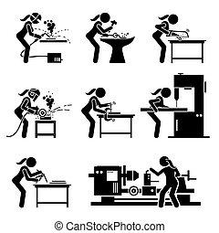 mestiere, fabbricazione, attrezzi, icons., lavoratore, bastone, industriale, metallo, ferro, figura femmina, apparecchiatura