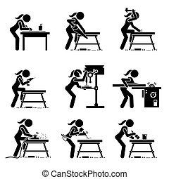 mestiere, fabbricazione, legno, attrezzi, icons., bastone, carpentiere, industriale, figura femmina, apparecchiatura