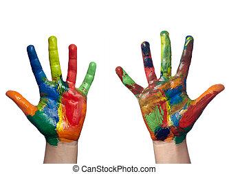 mestiere, mano, arte, bambino, dipinto, colorare