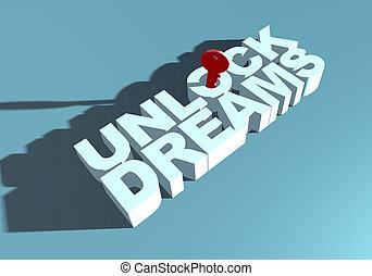 metafora, aspirazione, tipografia, aprire, chiave, fare un sogno