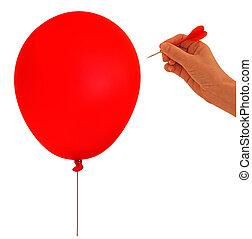 metafora, balloon, scoppio, -, mano, bianco, freccetta, bolla, backgro