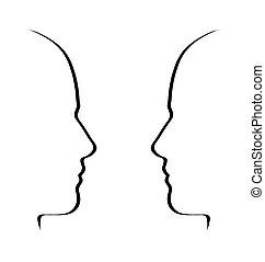 metafora, concetto, conversazione, bianco, -, parlare, nero, facce