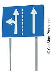 metafora, corsie traffico, eu, incrocio, strada, signage, isolato, avanti, segno, adatto, sinistra, europeo, scelta, turno, frecce, uscita, astratto, blu, alternativa, bordo della strada, giunzione, tracciato, bianco