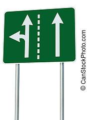 metafora, corsie traffico, eu, incrocio, strada, signage, isolato, avanti, verde, segno, adatto, sinistra, europeo, scelta, turno, frecce, uscita, astratto, alternativa, bordo della strada, giunzione, tracciato, bianco