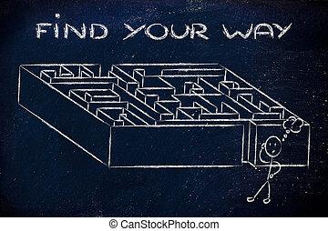 metafora, design:, trovare, modo, labirinto, tuo