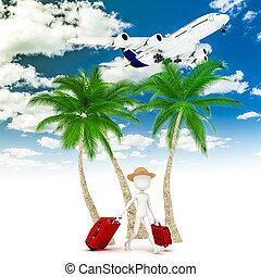 metafora, turista, aereo, vacanza, uomo, 3d