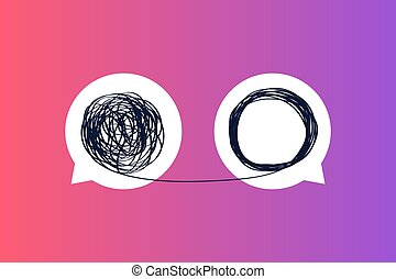 metafora, unraveling, mentore, esposizione, allenatore, aggrovigliato, messaggio, affari, linea., icone, o