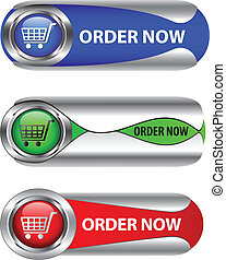 metallico, ora, set, ordine, button/icon