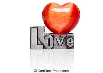 metallo, amore, vecchio, isolato, letterpress