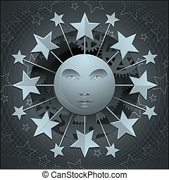 metallo, celestiale, luna