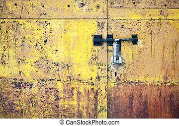 metallo, porta, grunge