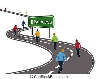 mete, o, camminare, concetto, gruppo, successo, asfalto, uomini, strada, segno freccia, viaggio, verde, vittoria, modo, cooperazione, curvo, bianco, squadra, ottenere, autostrada