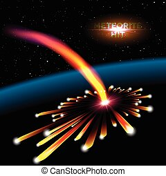 meteorite, esplosione, scheda, spazio