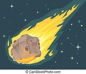 meteorite, fiamma