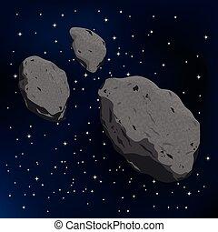 meteorite., illustrazione, vettore, asteroide