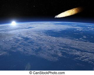 meteorite, -, render, 3d