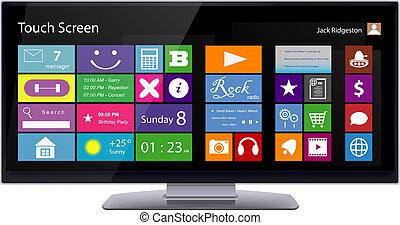 metro, tocco, interfaccia, schermo, largo, monitor