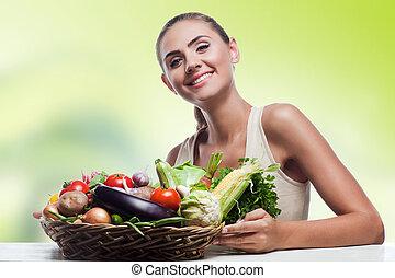 mettere dieta, donna, sano, vegetariano, -, giovane, cibo, concetto, presa a terra, vegetable., cesto, felice