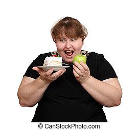 mettere dieta, donna, sovrappeso, scelta
