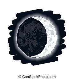 mezzaluna, fase, luna