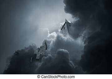 mezzo, castello, nubi, medievale