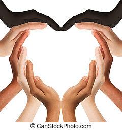 mezzo, mani, cuore, multirazziale, fabbricazione, forma, spazio, fondo, copia, umano, bianco