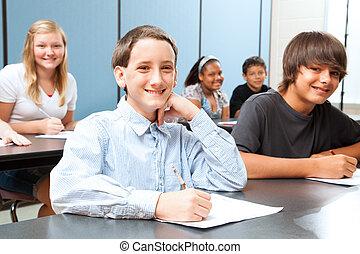 mezzo, ragazzo, classe scolastica