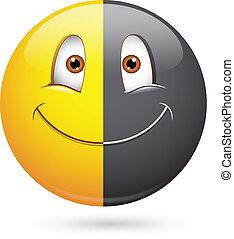 mezzo, smiley, nero, razzismo, faccia
