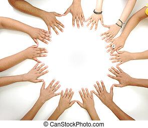 mezzo, spazio copia, fabbricazione, fondo, concettuale, bianco, multirazziale, bambini, simbolo, cerchio, mani