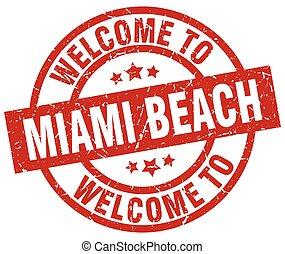 miami, francobollo, benvenuto, spiaggia, rosso