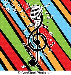 microfono, colorito, musica, cantante, chiave