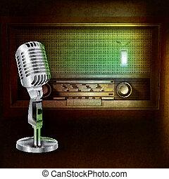 microfono, radio, astratto, fondo, retro