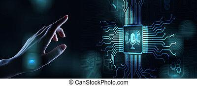 microfono, screen., ricerca, simbolo, controllo, riconoscimento, virtuale, voce