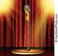microfono, tende rosse, palcoscenico