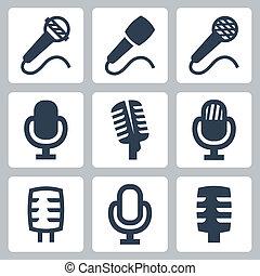 microfono, vettore, set, isolato, icone
