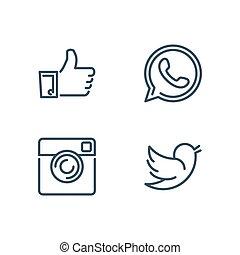 microtelefono, icone, macchina fotografica, come, vettore, disegnato, linea, uccello