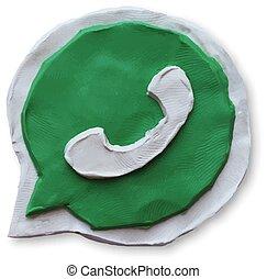 microtelefono, telefono, discorso, verde, bolla, icona
