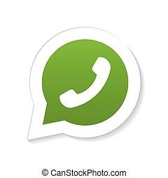 microtelefono, telefono, discorso, verde, bolla